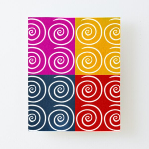 Four Squares of Swirls Pop Canvas Mounted Print