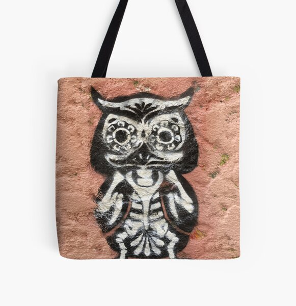 Graffiti wall with an owl All Over Print Tote Bag