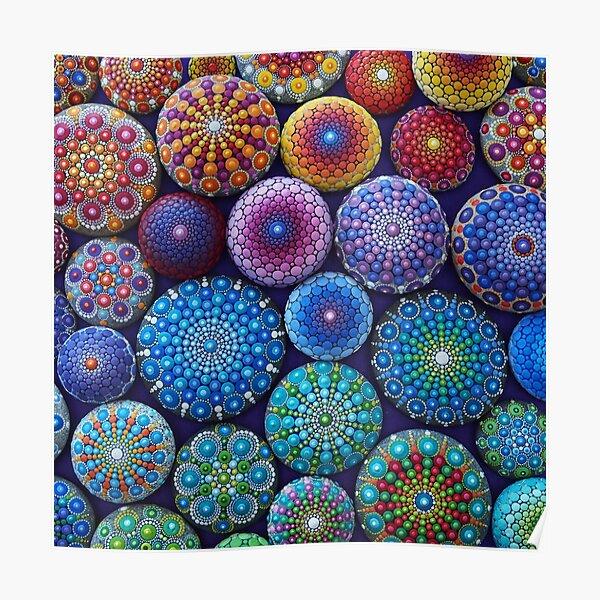 Rainbow Mandala Stone Collection Poster