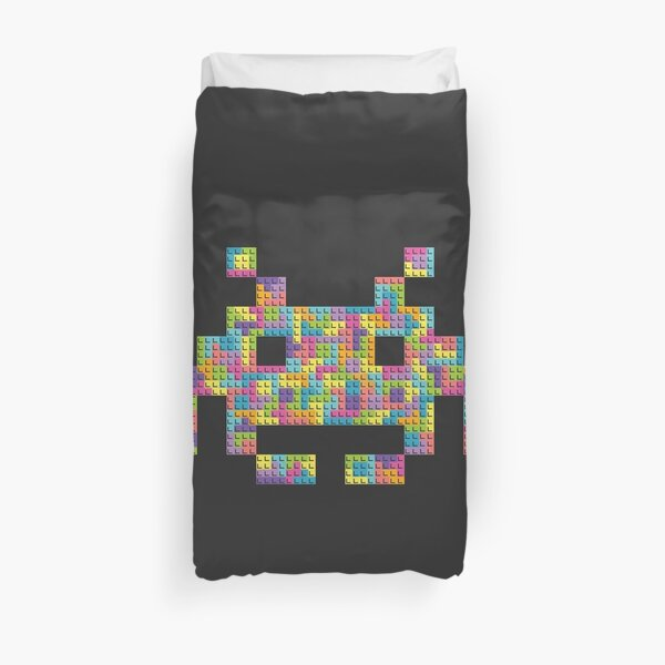 Space invader built by Tetris blocks Duvet Cover