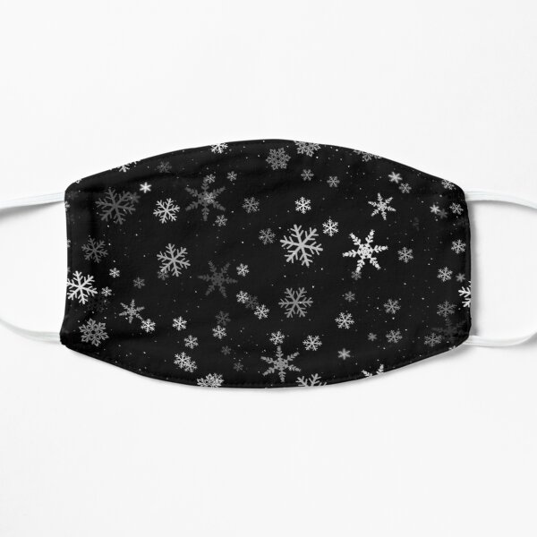 Black and White Snowflakes Winter Pattern Mask