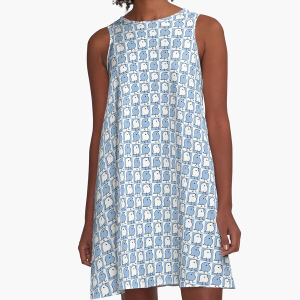 Blue and White Wugs A-Line Dress