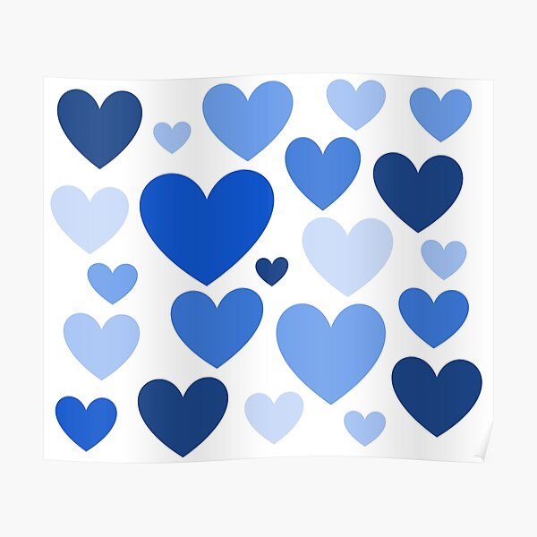 Cornflower Blue Hearts (Varied) Poster