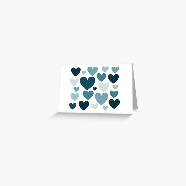 Cyan Love Hearts (Varied) Greeting Card