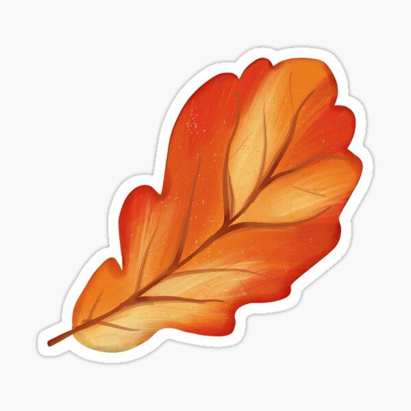 Orange Acorn Leaf Sticker