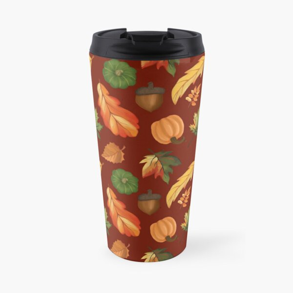 Autumn Leaves and Pumpkins Wine Red Background Travel Mug