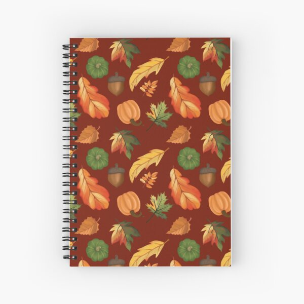 Autumn Leaves and Pumpkins Wine Red Background Spiral Notebook