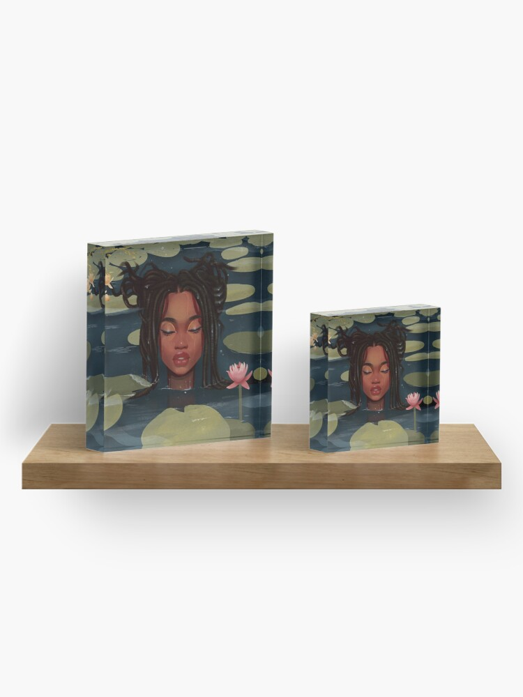 Alternate view of Immersed in nature. Portrait art illustration.  Acrylic Block