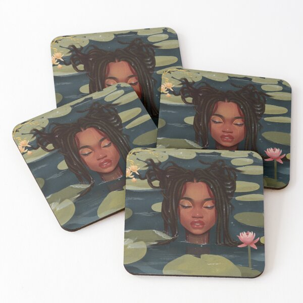Immersed in nature. Portrait art illustration.  Coasters (Set of 4)