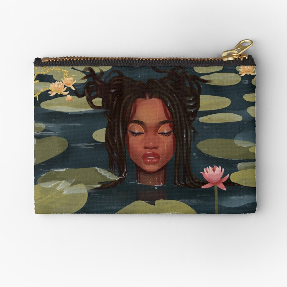Immersed in nature. Portrait art illustration.  Zipper Pouch