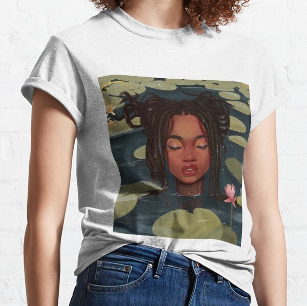 Immersed in nature. Portrait art illustration.  Classic T-Shirt