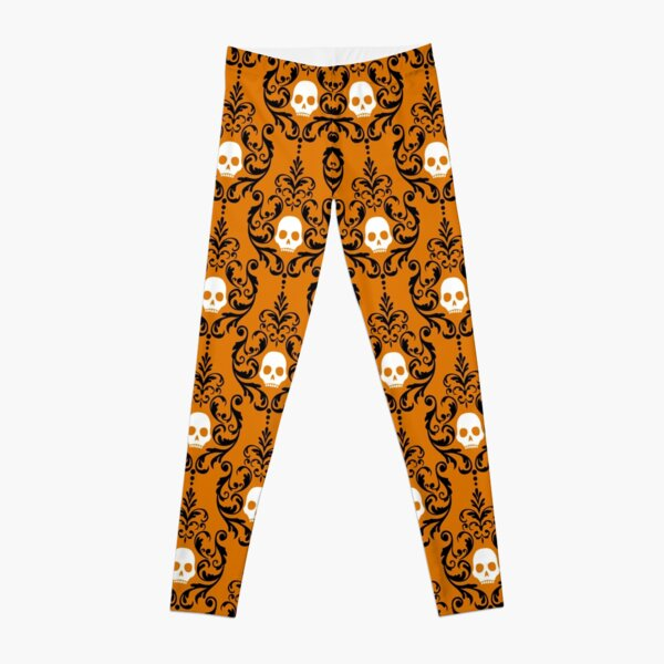 Pumpkin Orange, Spooky Black and Ghost White Halloween Skull Damask Motif Pattern Leggings