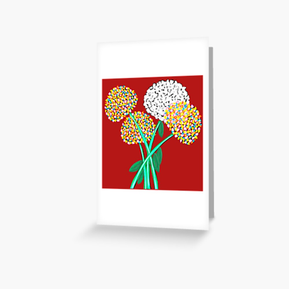 Pom Pom Flowered Bouquet Greeting Card