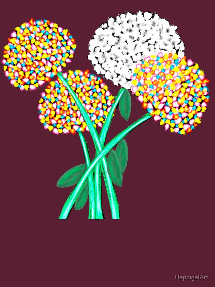 Pom Pom Flowered Bouquet by HappigalArt