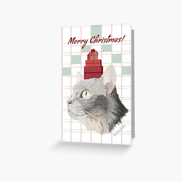 Gray Cat Christmas Greeting Card