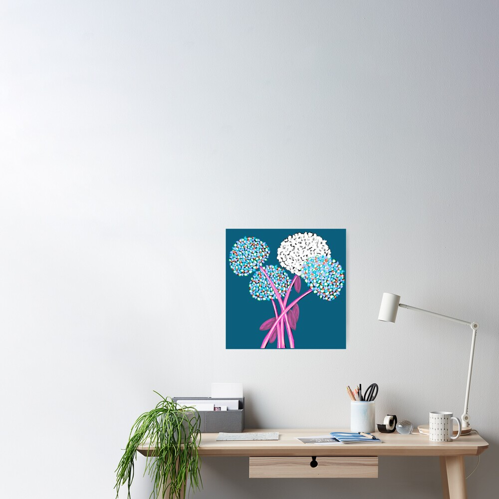 Pom Pom Flowered Bouquet Blue Poster