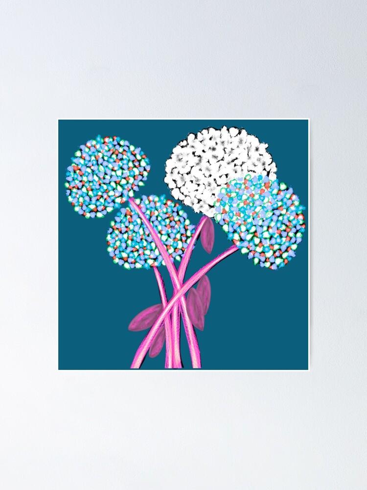 Alternate view of Pom Pom Flowered Bouquet Blue Poster