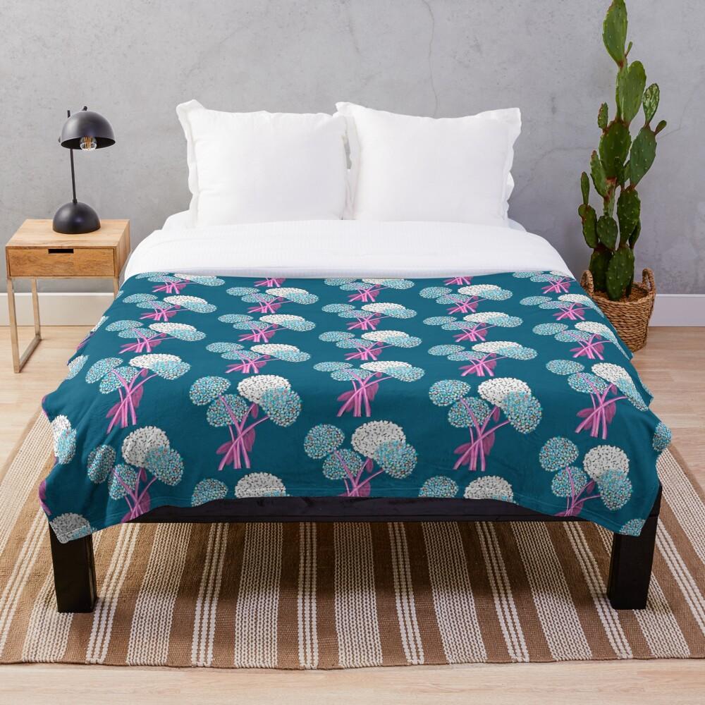 Pom Pom Flowered Bouquet Blue Throw Blanket