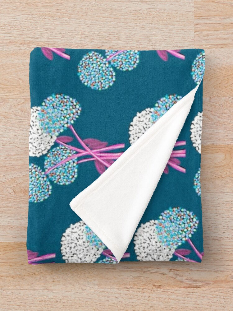 Alternate view of Pom Pom Flowered Bouquet Blue Throw Blanket