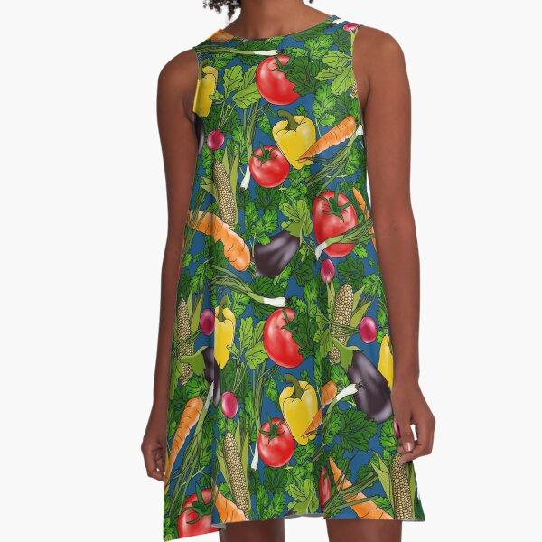 Veggies On Blue Pattern A-Line Dress
