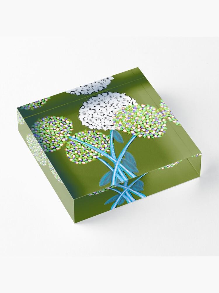 Alternate view of Pom Pom Flowered Bouquet Green Acrylic Block