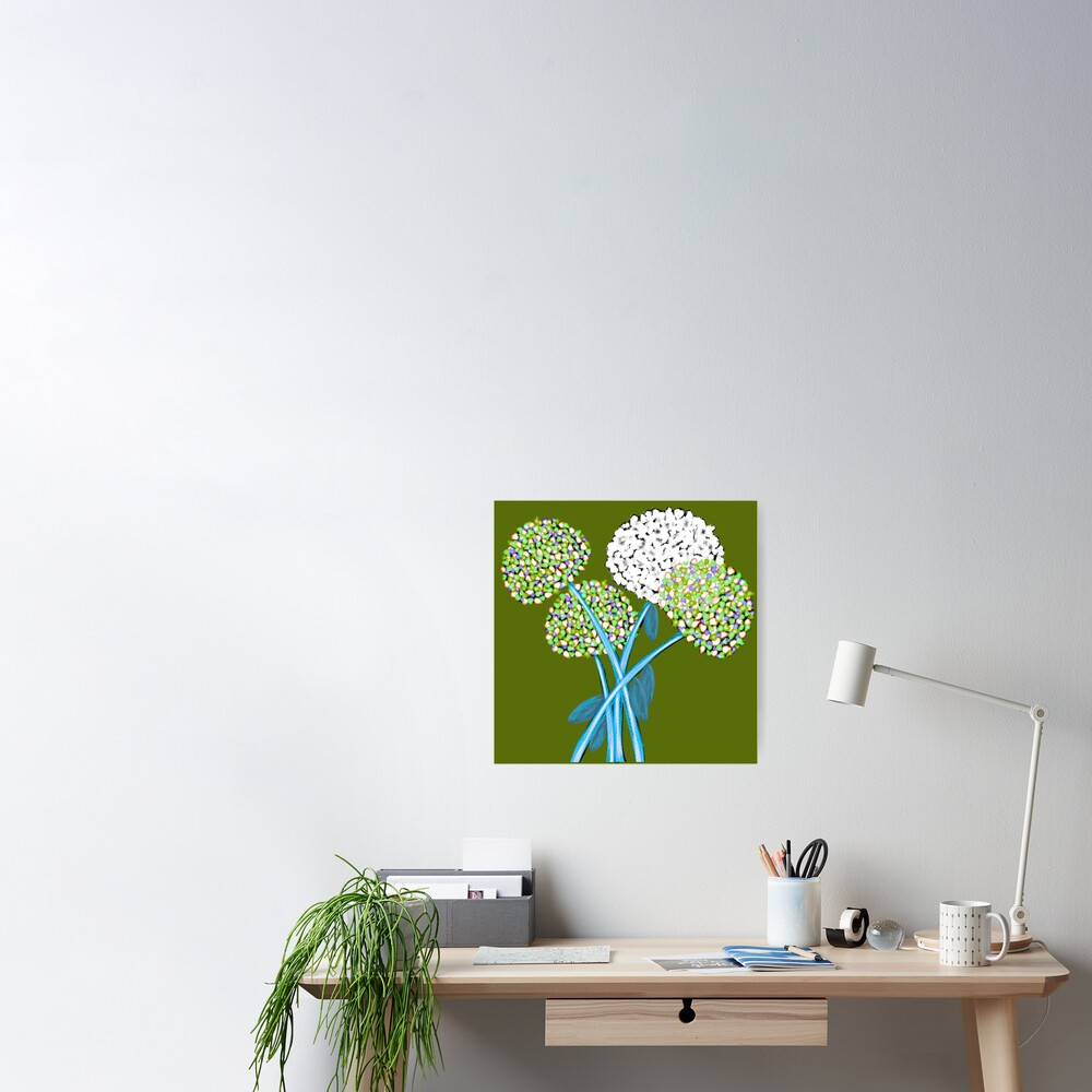 Pom Pom Flowered Bouquet Green Poster