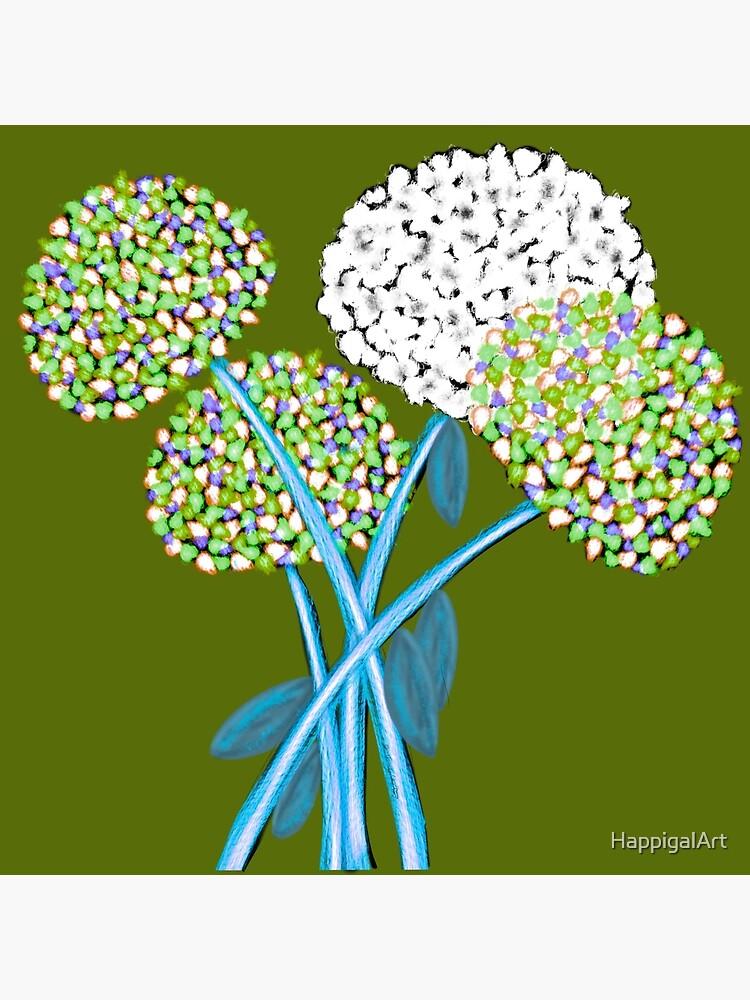 Pom Pom Flowered Bouquet Green by HappigalArt