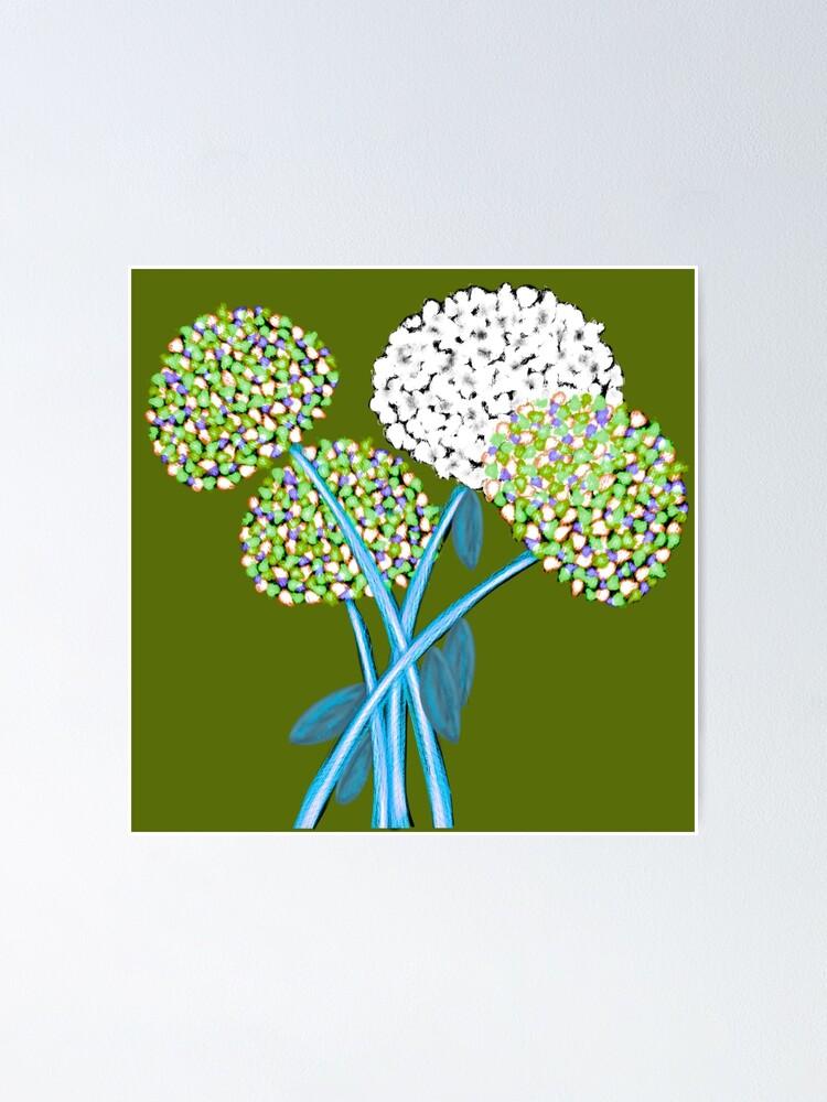 Alternate view of Pom Pom Flowered Bouquet Green Poster