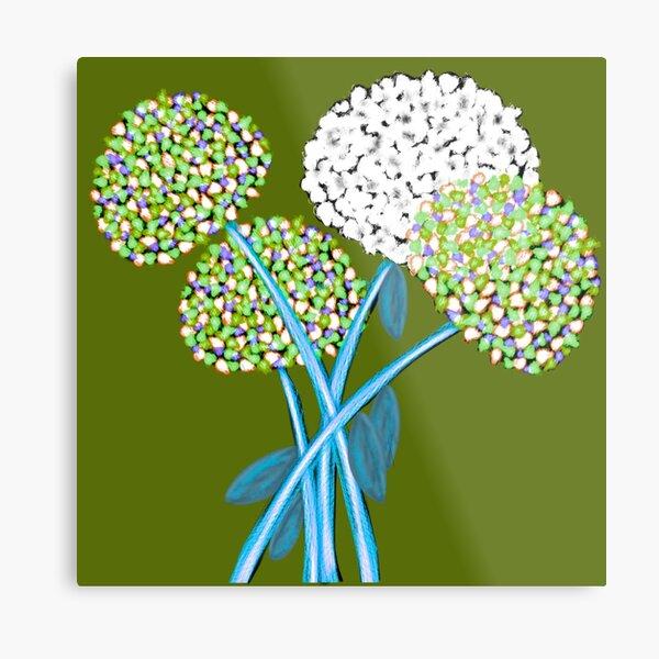 Pom Pom Flowered Bouquet Green Metal Print