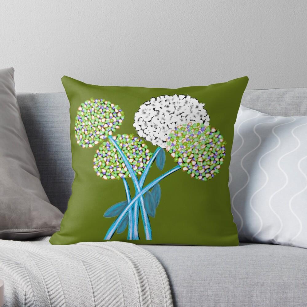 Pom Pom Flowered Bouquet Green Throw Pillow