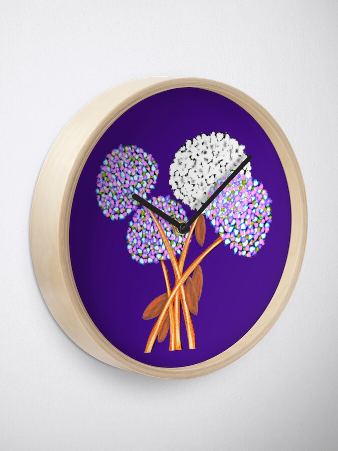 Alternate view of Pom Pom Flowered Bouquet Lavender Clock