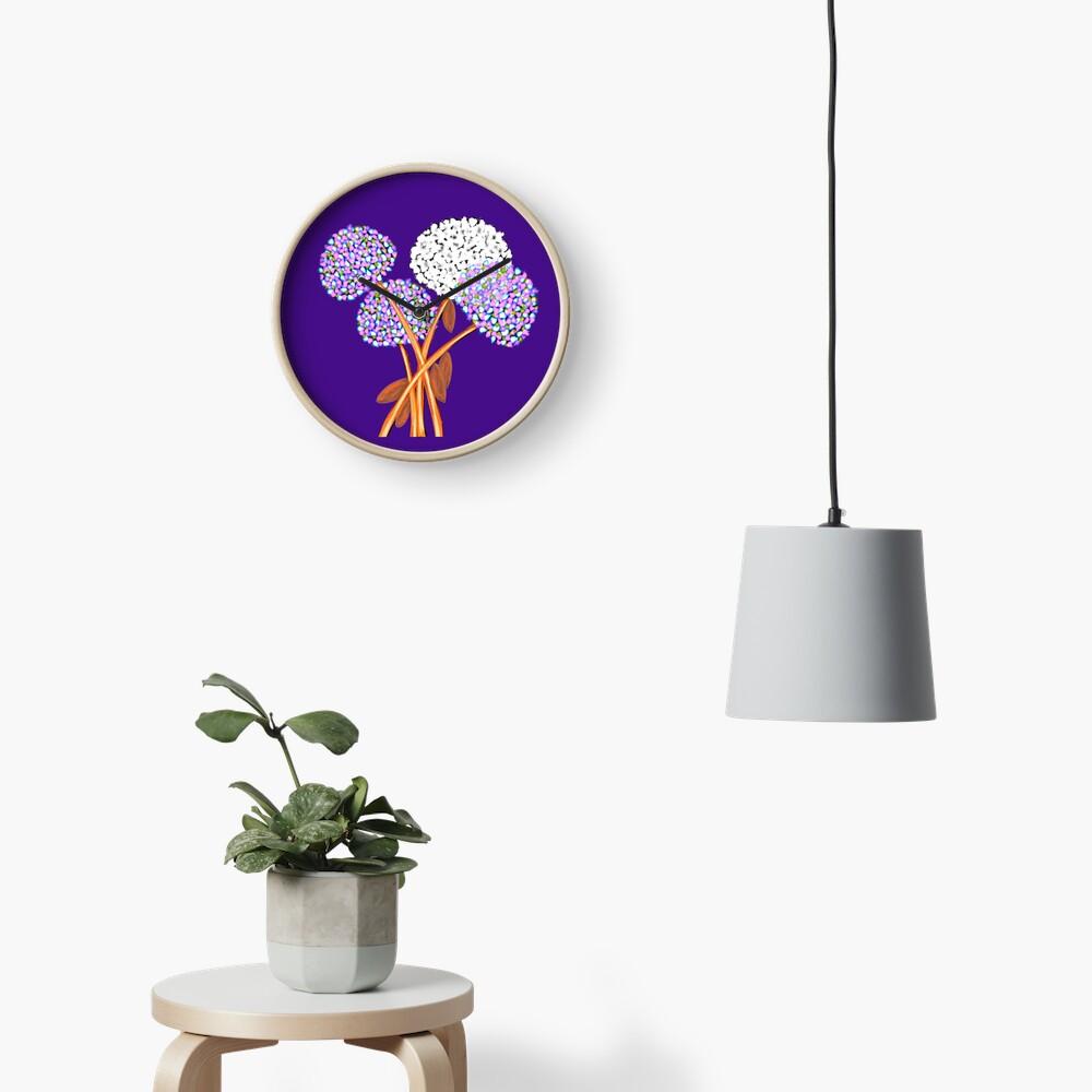 Pom Pom Flowered Bouquet Lavender Clock