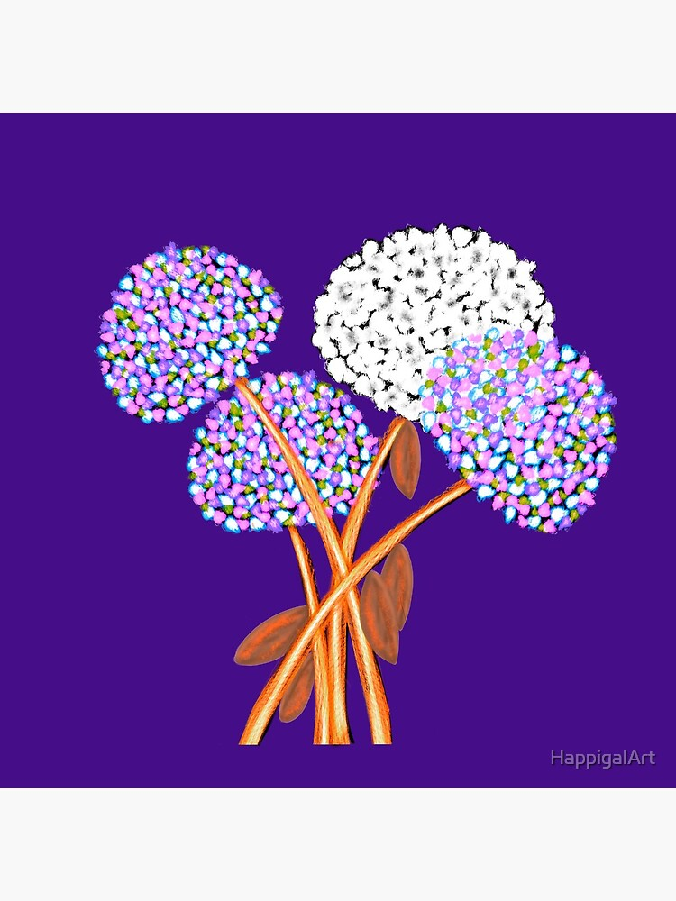 Pom Pom Flowered Bouquet Lavender by HappigalArt