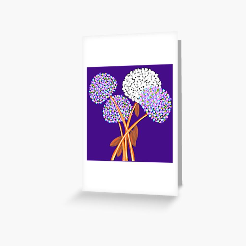 Pom Pom Flowered Bouquet Lavender Greeting Card