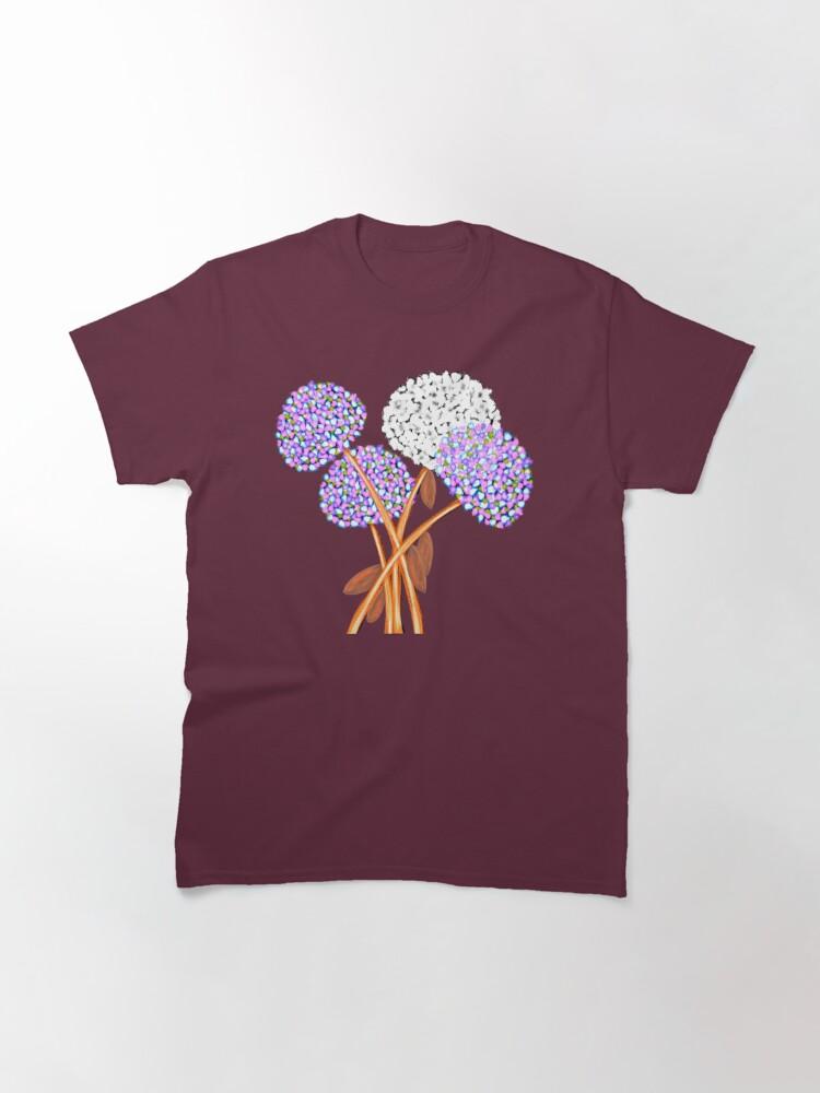 Alternate view of Pom Pom Flowered Bouquet Lavender Classic T-Shirt