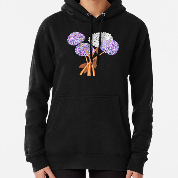 Pom Pom Flowered Bouquet Lavender Pullover Hoodie