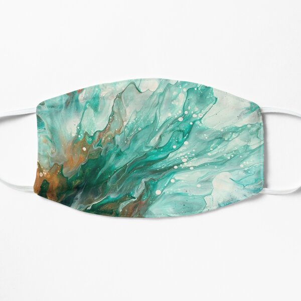 Copper, Gold, and Green Abstract Fluid Art Splash Nature Painting Mask