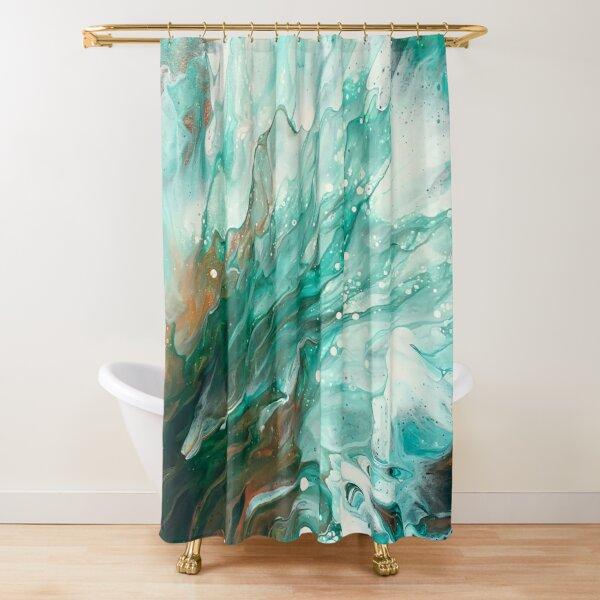 Copper, Gold, and Green Abstract Fluid Art Splash Nature Painting Shower Curtain
