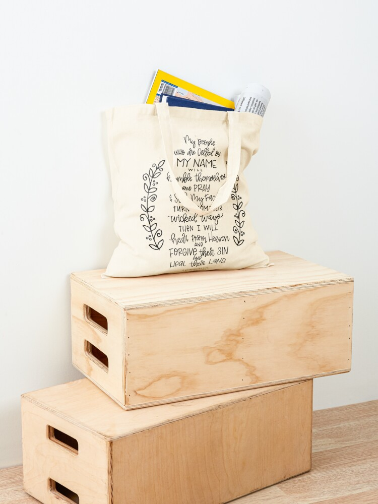 Alternate view of hand lettered scripture art - 2 Chronicles 7:14 Tote Bag