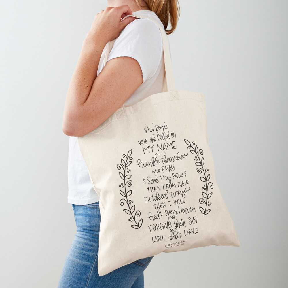hand lettered scripture art - 2 Chronicles 7:14 Tote Bag