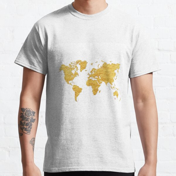 Mapa mundial Oro Vintage Camiseta clásica