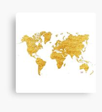 World Map Gold Vintage Canvas Print