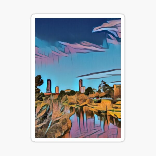 City view from riverbank - Adelaide City - South Australia Sticker