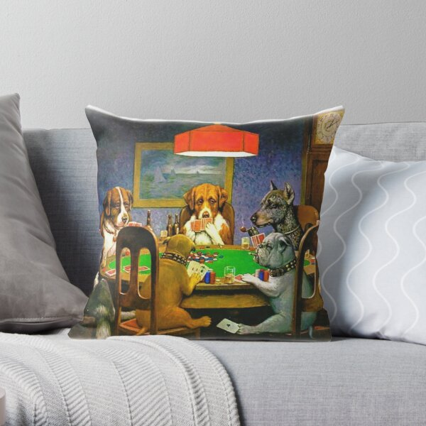Bunch of Bluffing Dogs on a Poker Night Throw Pillow