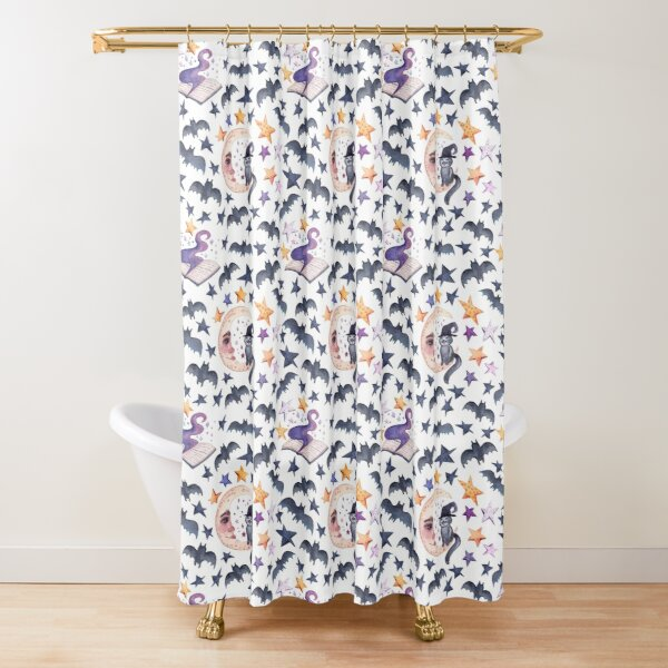 Black cat on the moon. Watercolor pattern for a merry Halloween. Shower Curtain