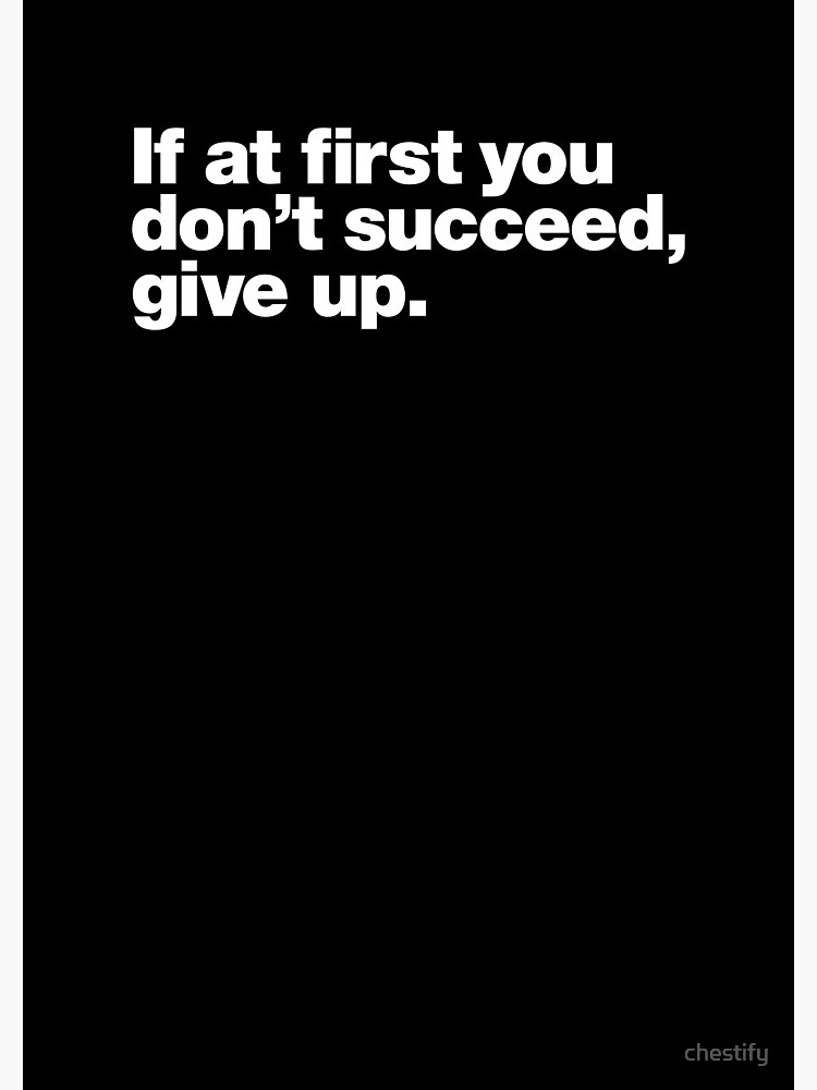 If at first you don't succeed, give up. by chestify