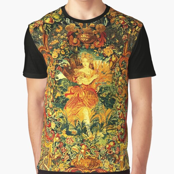 SEASONS AND ELEMENTS,SUMMER FLORA, LOUIS XIV French Royal Embroidery Tapestry Detail Graphic T-Shirt