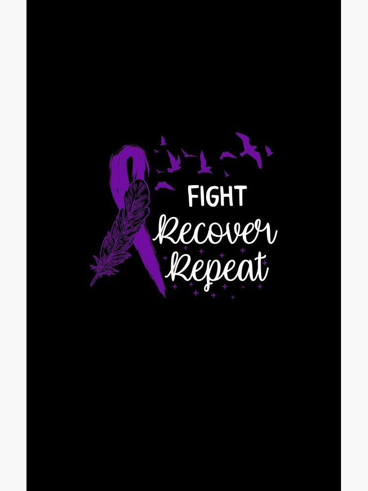 Eating Disorder Recovery Shirt Fight Recover Repeat Ed Warrior Purple Ribbon Awareness Gift by Sifoustore
