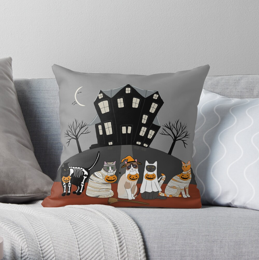 The Trick or Treat Kitties Throw Pillow