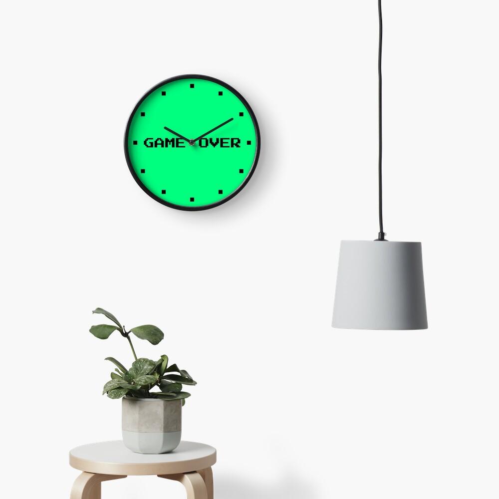 Game Over Retro Gamer Green Clock
